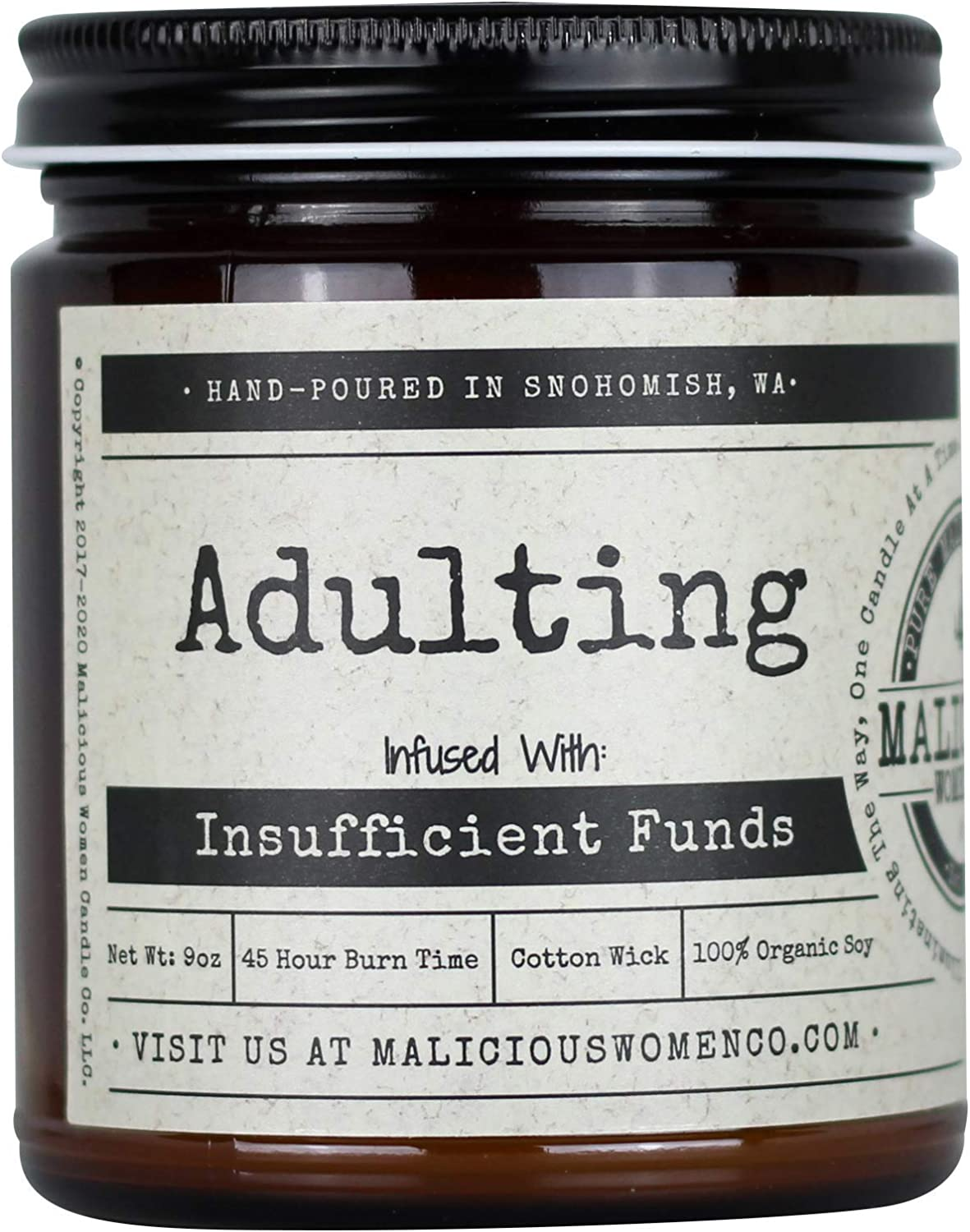 Malicious Women Candle Co - Adulting, Espresso Yo' Self Infused with Insufficient Funds, All-Natural Organic Soy Candle, 9 oz