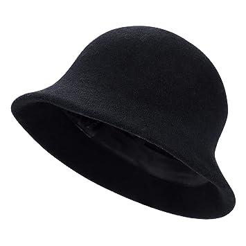 45767070400c4c ITODA Ladies Wool Felt Cloche Hat Winter Thermal Elegant Bowler Hat Vintage  Casual Bucket Hat Foldable