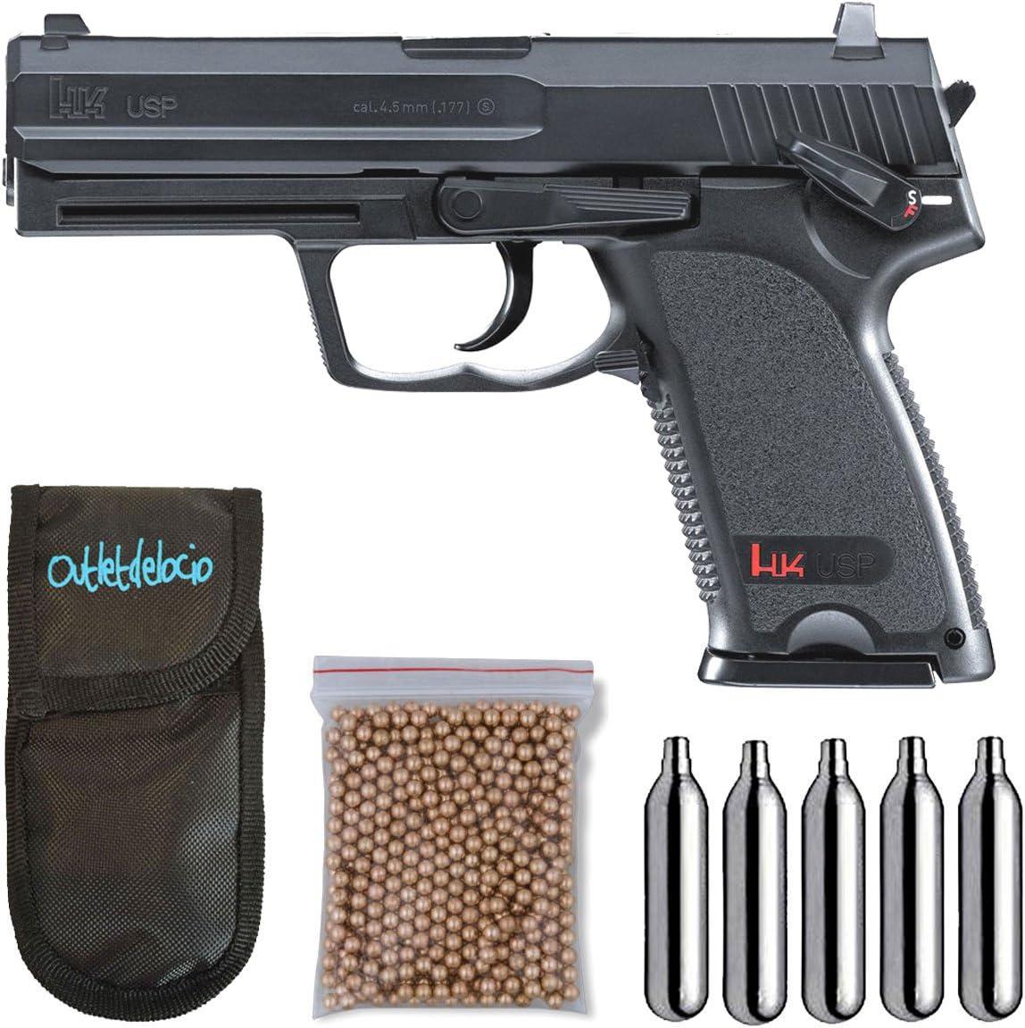 Umarex U58100. Pistola perdigon H&K USP Gas Co2. 4,5mm. + Funda Portabombonas + Balines + Bombonas co2. 23054/29318/13275