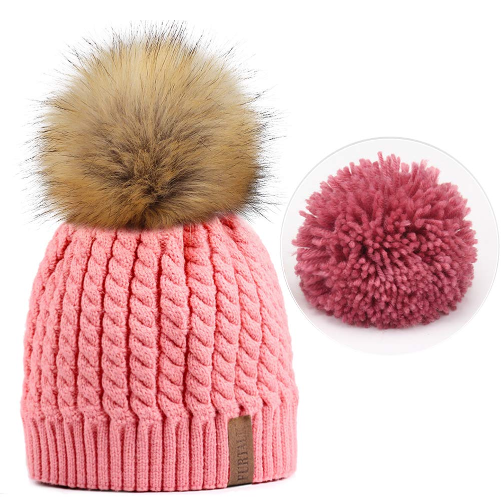 Amazoncom Furtalk Women Winter Knitted Pom Beanie Fur Hat Big Pom