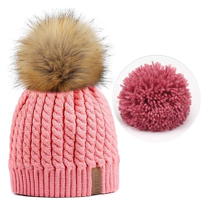 90d2b7a6b6d4e Amazon.com: FURTALK Women Winter Knitted Pom Beanie-Fur Hat Big Pom Pom Hat  Women Crochet Knit Bobble Hat: Clothing