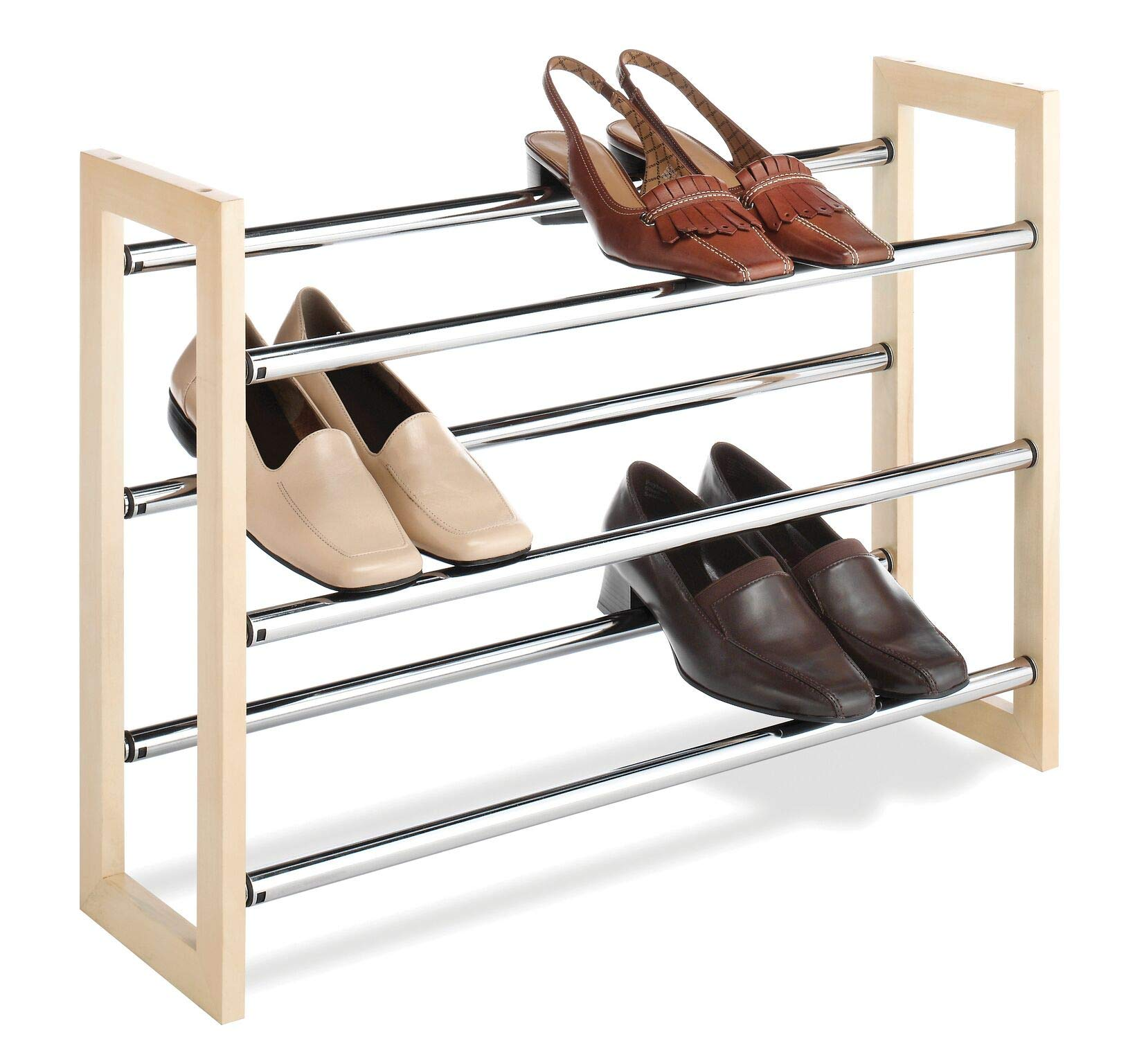 Whitmor 3 Tier Expandable Shoe Rack -Stackable - Natural Wood and Chrome by Whitmor