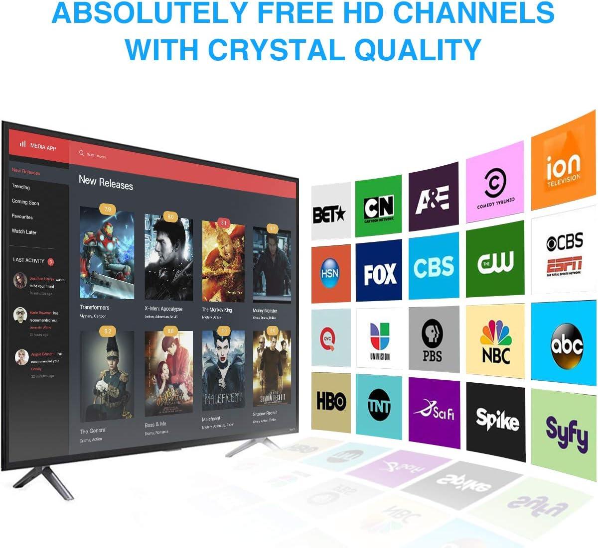 Antena de TV Rango de 96-200 KM Antena Interior HDTV con Amplificador Portatil Soporte 4K 1080p y Todos los televisores de Interior TV de Antena