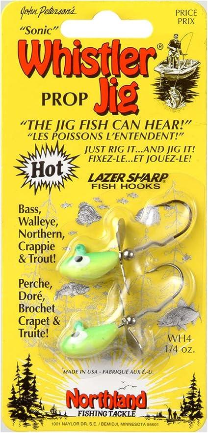 4 packs of 2 Northland Tackle 1//4 Oz Whistler Jig 8 lures parakeet