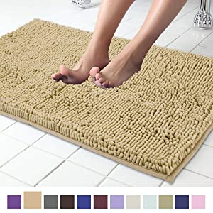 ITSOFT Non Slip Shaggy Chenille Soft Microfibers Bathroom Rug with Water Absorbent, Machine Washable, 21 x 34 Inches Beige