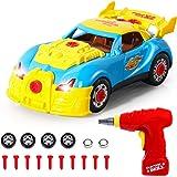 SGILE Coche de Desmontar Race Car 30 Piezas Mejoradas Herramientas Taladro Kit de Construccion de Juguete Educativo con Luces y Sonidos, el mejor regalo para niños