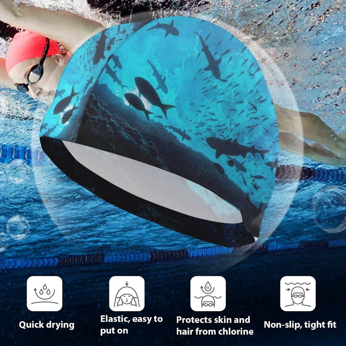 QILI Black and White Orca Whales Mens Quick Dry Water Resistant Hawaiian Funny Beach Board Shorts