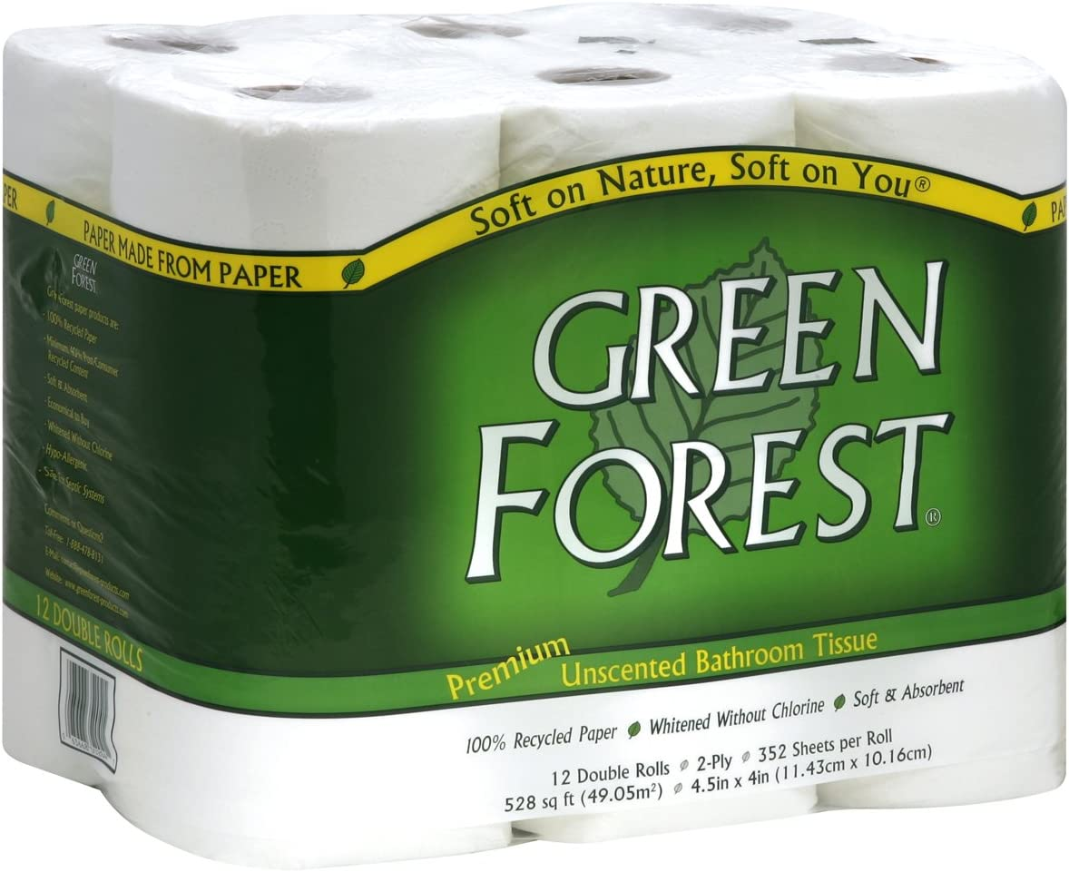 Green Forest premium recycled bathroom tissue is a great choice if you want an eco friendly toilet paper but don't want to skimp on comfort.