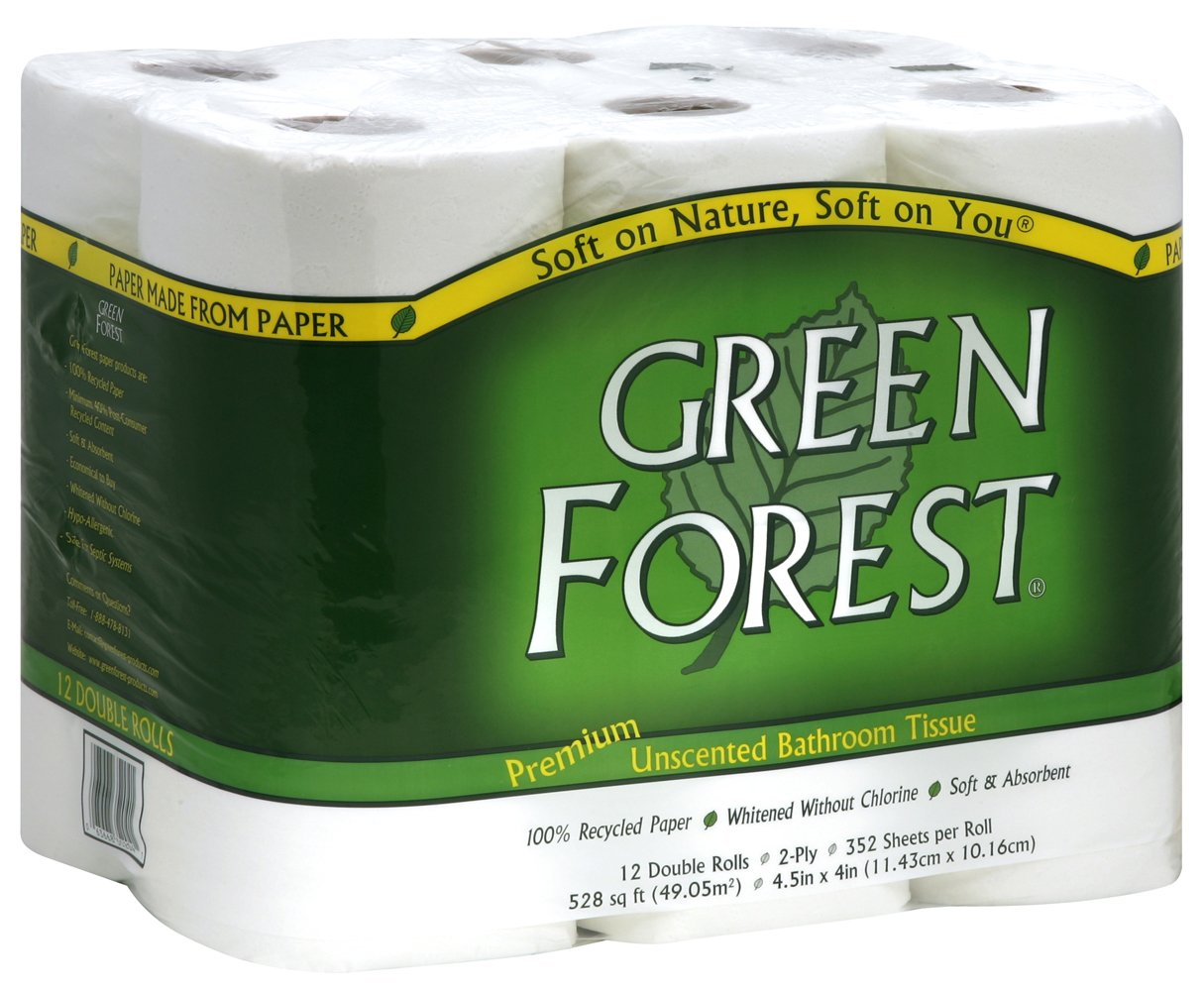 Green Forest Premium 100% Recycled Bathroom Tissue, 352 Sheets Each Roll, 12 Count (Pack of 4) by GreenForest