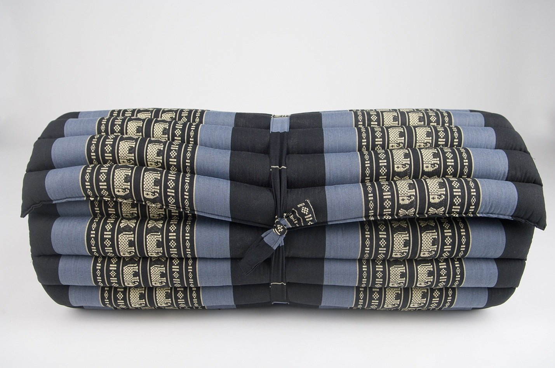 Noinoi@roll up Thai Mattress Kapok (Large, Elephant Blue-Black)