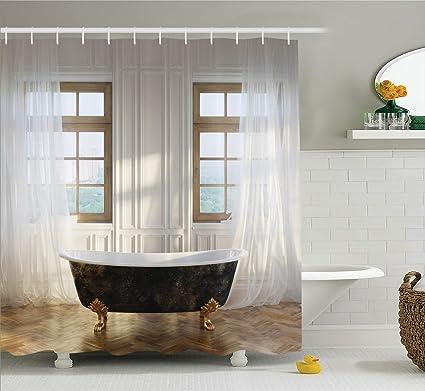 Ambesonne Antique Shower Curtain Retro Bathtub In Modern Room Interior Hardwood Classics Space Design Cloth Fabric Bathroom Decor Set With Hooks
