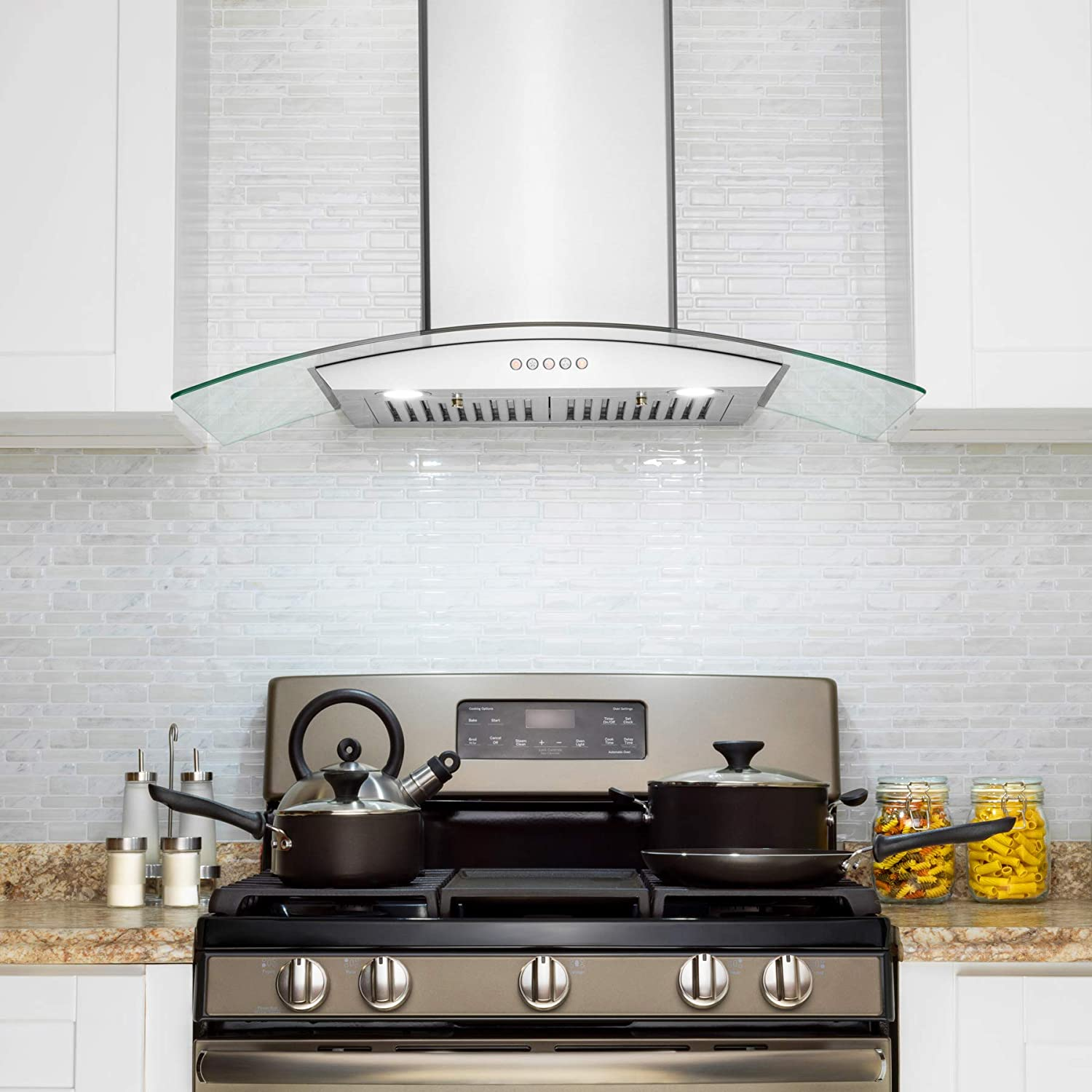 Golden Vantage Wall Mount Range Hood 36 Stainless-Steel Glass Hood Fan for Kitchen 3-Speed Quiet Motor Push Control Panel Curve Modern Design Baffle Filter LED Lamps Tempered Glass