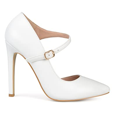 e9360e9d4fb Womens Faux Leather Pointed Toe D Orsay Ankle Strap Heels White