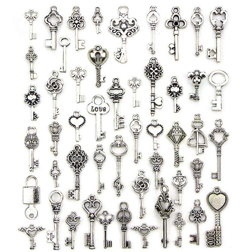 50PCS Mixed Antique Tibetan silver Jewelry Key Charms Pendant Carfts DIY Finding