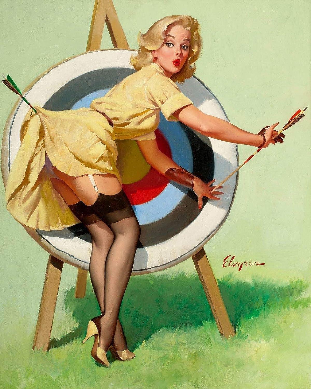 "Magnet Elvgren Blonde Pin-Up Girl Near Miss Archery Target Magnet Vinyl Magnetic Sheet for Lockers, Cars, Signs, Refrigerator 5"""