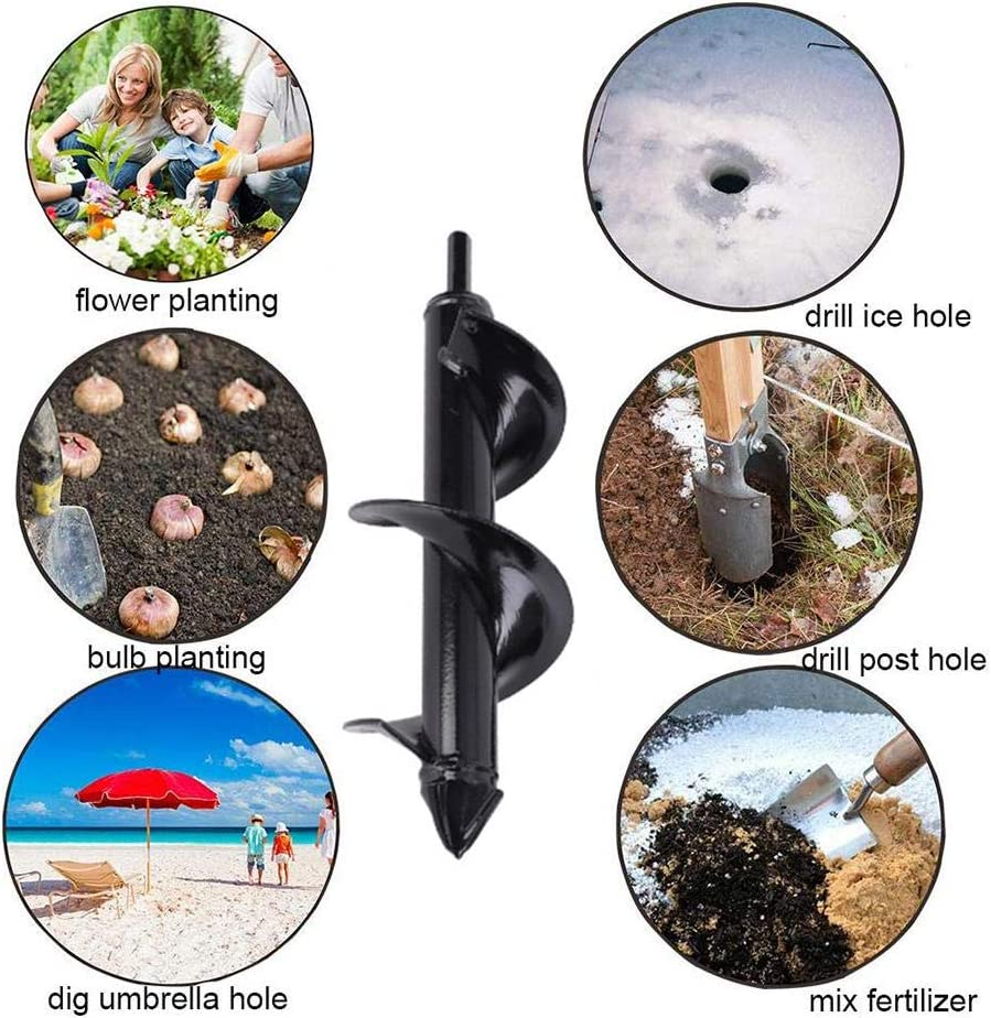 Works for Any Kinds Soils etateta Auger Drill Bit Garden Solid Barrel Dual-Blades Plant Flower Bulb Auger Spiral Hole Drill Rapid Planter Earth Post Umbrella Hole Digger for 3//8 Hex Drive Drill