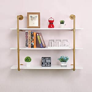 LENGEN Industrial Floating Shelves Wall Mount,48in Rustic Pipe Wall Shelf,3-Tiers Wall Mount Bookshelf,DIY Storage Shelving Floating Shelves,Wall Shelving Unit,Wall Book Shelf for Home,Gold