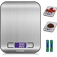 ADORIC Báscula Digital para Cocina de Acero Inoxidable, 5kg / 11 lbs, Balanza de Alimentos Multifuncional, Peso de…