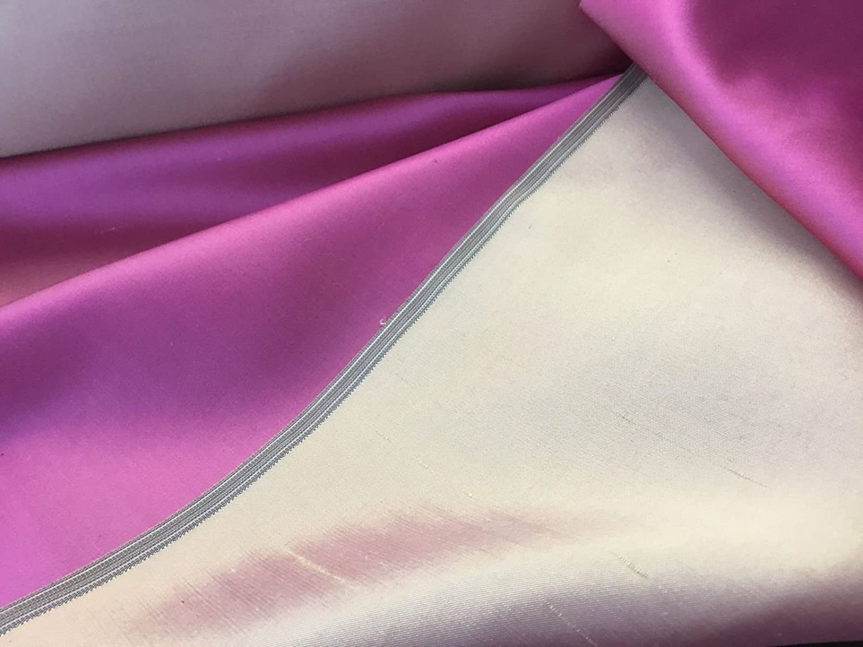 "New Shot Two Tone Peach /& Pink 100/% Silk Dupion Slub Satin Fabric 54/"" HALF MTR"
