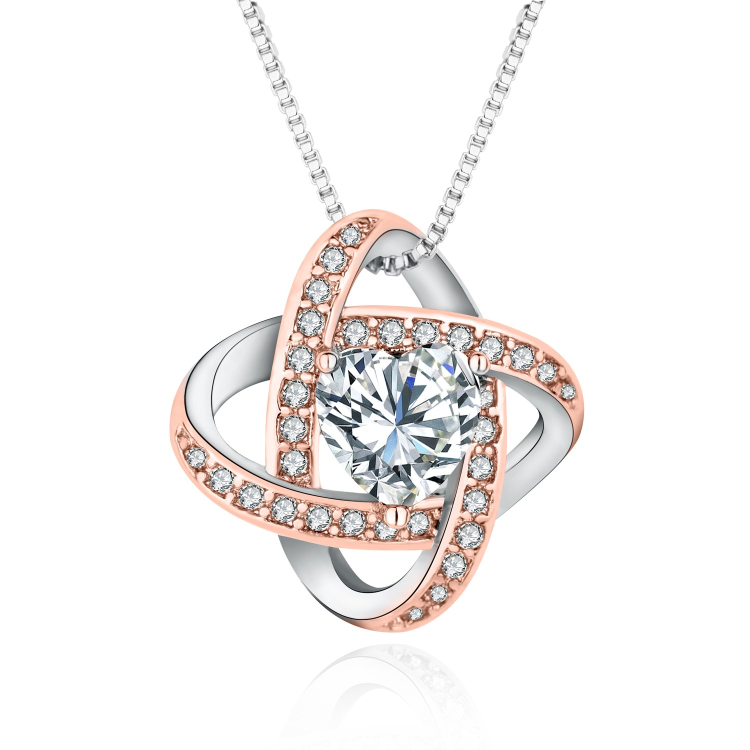 Luomart Celtic Love Knot Necklace Two-Tone Brass Heart Shaped Crystal Pendant Jewelry (Rose Gold&White Gold)
