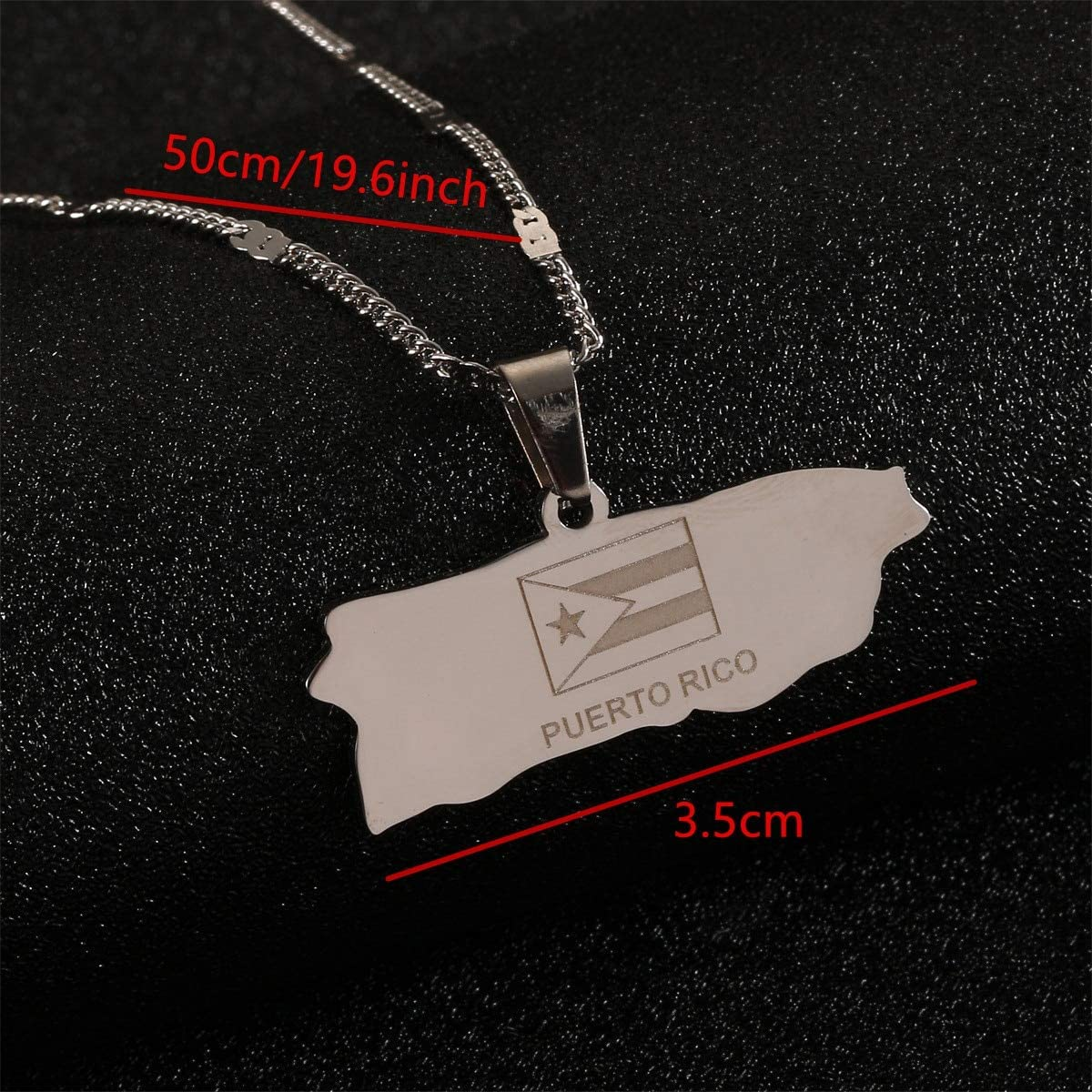 Stainless Steel Puerto Rico Map Pendant Necklaces Trendy Puerto Ricans Map Jewelry