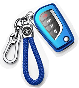 Blue Autophone for Toyota Key Fob Cover with Keychain Soft TPU 360 Degree Protection Key Case Compatible with Toyota Fortuner tundra Camry RAV4 Highlander Corolla Smart Key