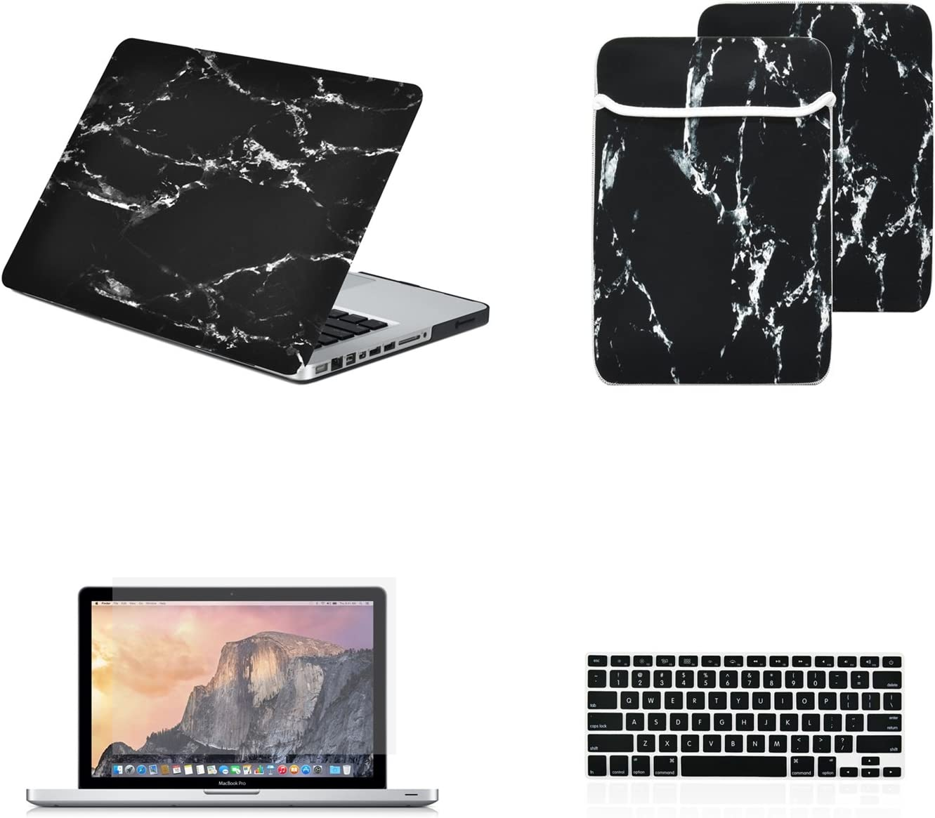 """TOP CASE - 4 in 1 Essential Bundle Marble Pattern Rubberized Hard Case, Sleeve, Keyboard Cover, Screen Protector Compatible Old Gen. MacBook Pro 13"""" with DVD Drive/CD-ROM A1278 - Marble Black"""