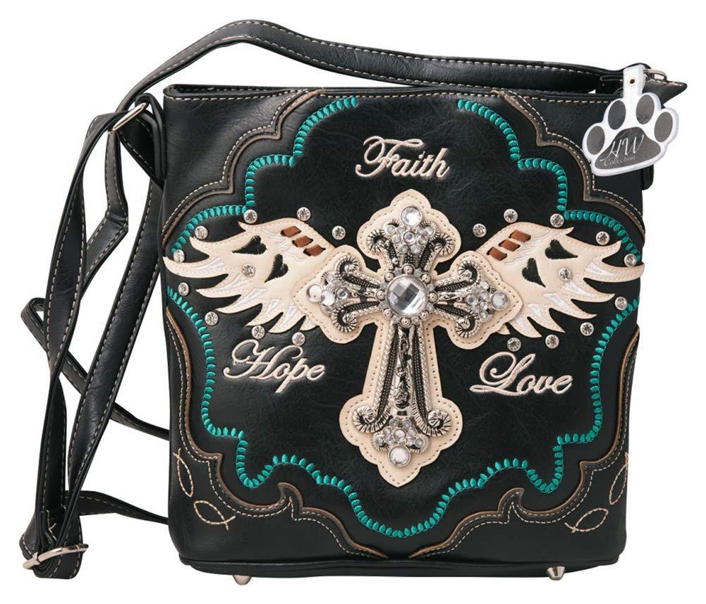 HW Collection Western Handbag Rhinestone Cross Angel Wings Faith Hope Love Concealed Carry Crossbody Purse Shoulder Bag (Black)