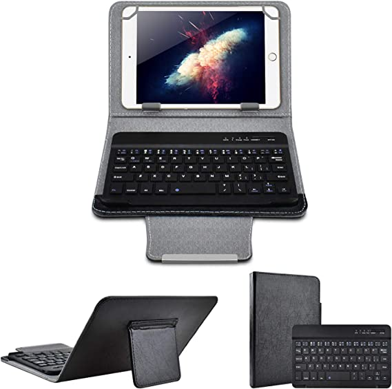 Universal 8 inch Tablet Keyboard Case, 【DETUOSI】 Wireless Bluetooth Removable Keyboard + Folio PU Leather Cover + Stand, Travel Portable Leather ...