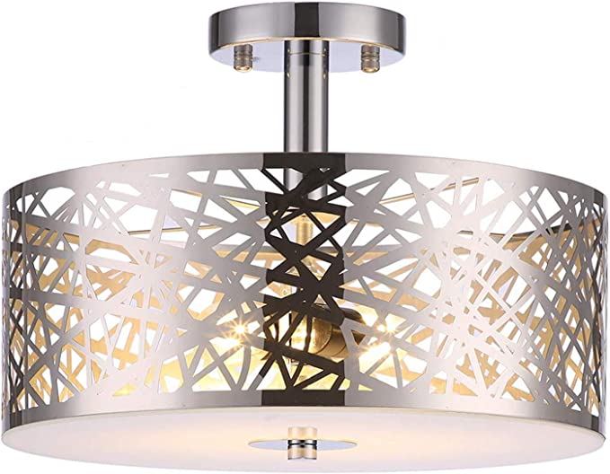 Amazon Com Loclgpm 2 Lights Semi Flush Mount Ceiling Light Drum Chandelier Fixture With Metal Shade Contemporary Chrome Finish Pendant Light For Bedroom Living Room Dining Room Hall Home Improvement