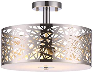 Loclgpm Classic 2 Light Crystal Chrome Finish Semi-Flush Mount Ceiling Light, Lighting Fixture with Metal Shade for Bedroom,Living Room,Dining Room