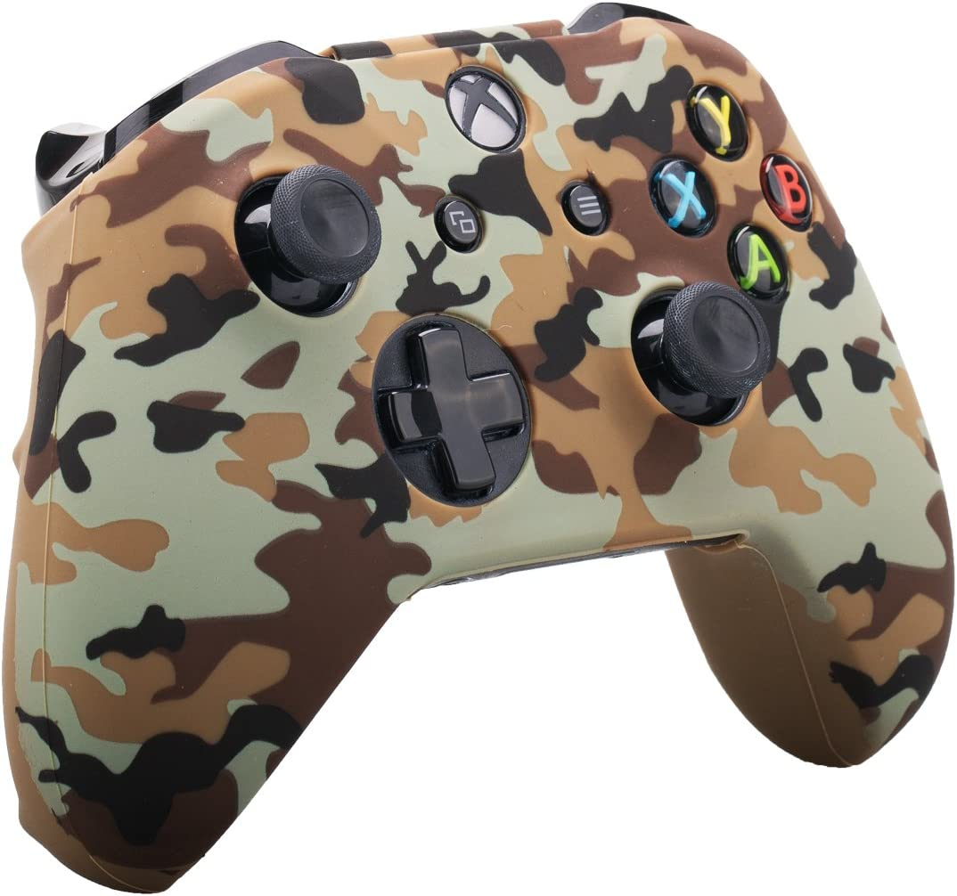 9CDeer Studded Protective Customize Transfer Printing Silicone Cover Skin Sleeve Case 8 Thumb Grips Analog Caps for Xbox One//S//X Controller Skull Red Compatible with Official Stereo Headset