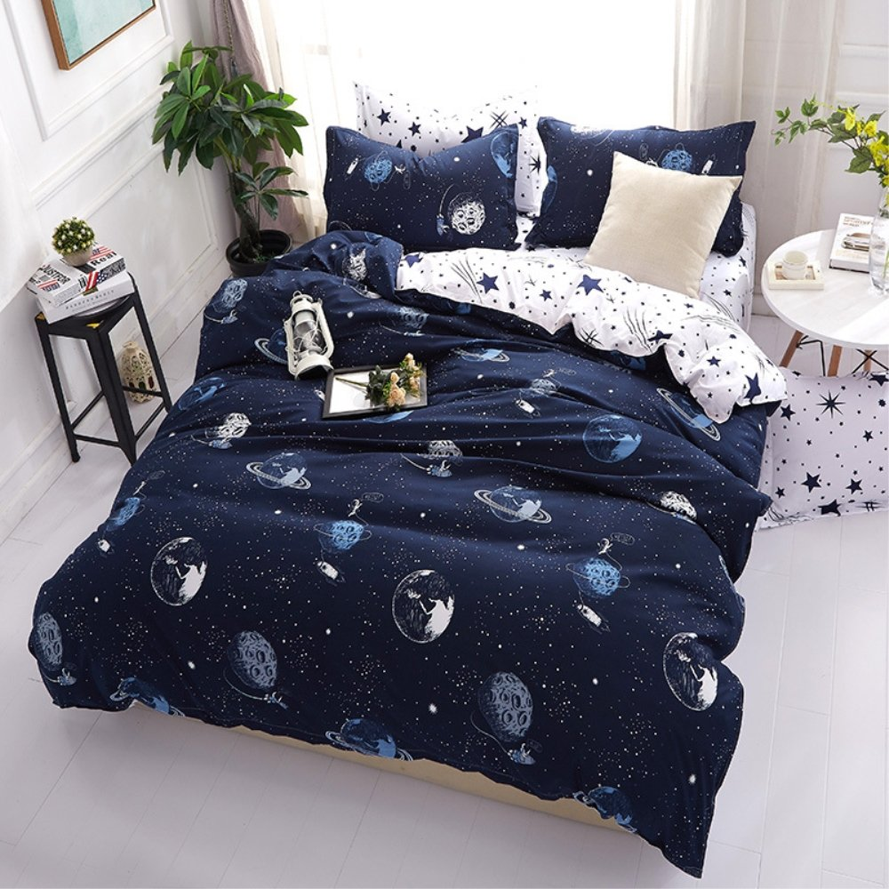 ZHH Outer Space Celestial Galaxy Duvet Cover Set, Comforter Set Luxury Soft Bedding, Space Theme Kids Quilt Cover (Blue, 1 Quilt Coverlet & 2 Pillowcases, Queen Size)
