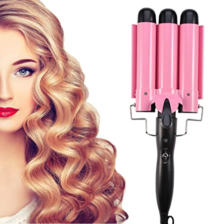 Hair Curling Iron, Fashionable Triple Pipe Hair Curler Egg Roll Head Hair Styling Tools Curling Iron DIY Curly Hair Styling Tools 32mm