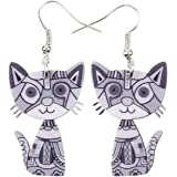 Acrylic Drop Cat Earrings Pets Funny Design 7 Color Lovely Gift For Girl Women By The Bonsny