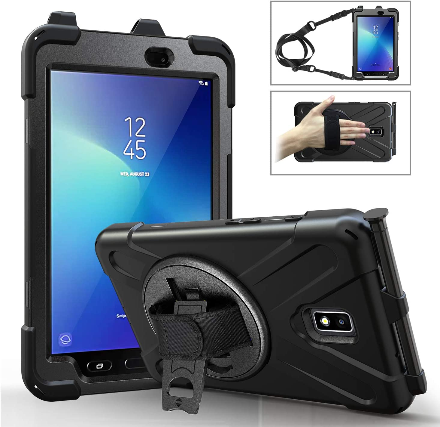 Moko Case Fit Samsung Galaxy Tab Active 2 8.0, Heavy Duty Shockproof Full-Body Rugged 360 Degree Rotating with Shoulder Strap Stand Cover for Galaxy Tab Active 2 8