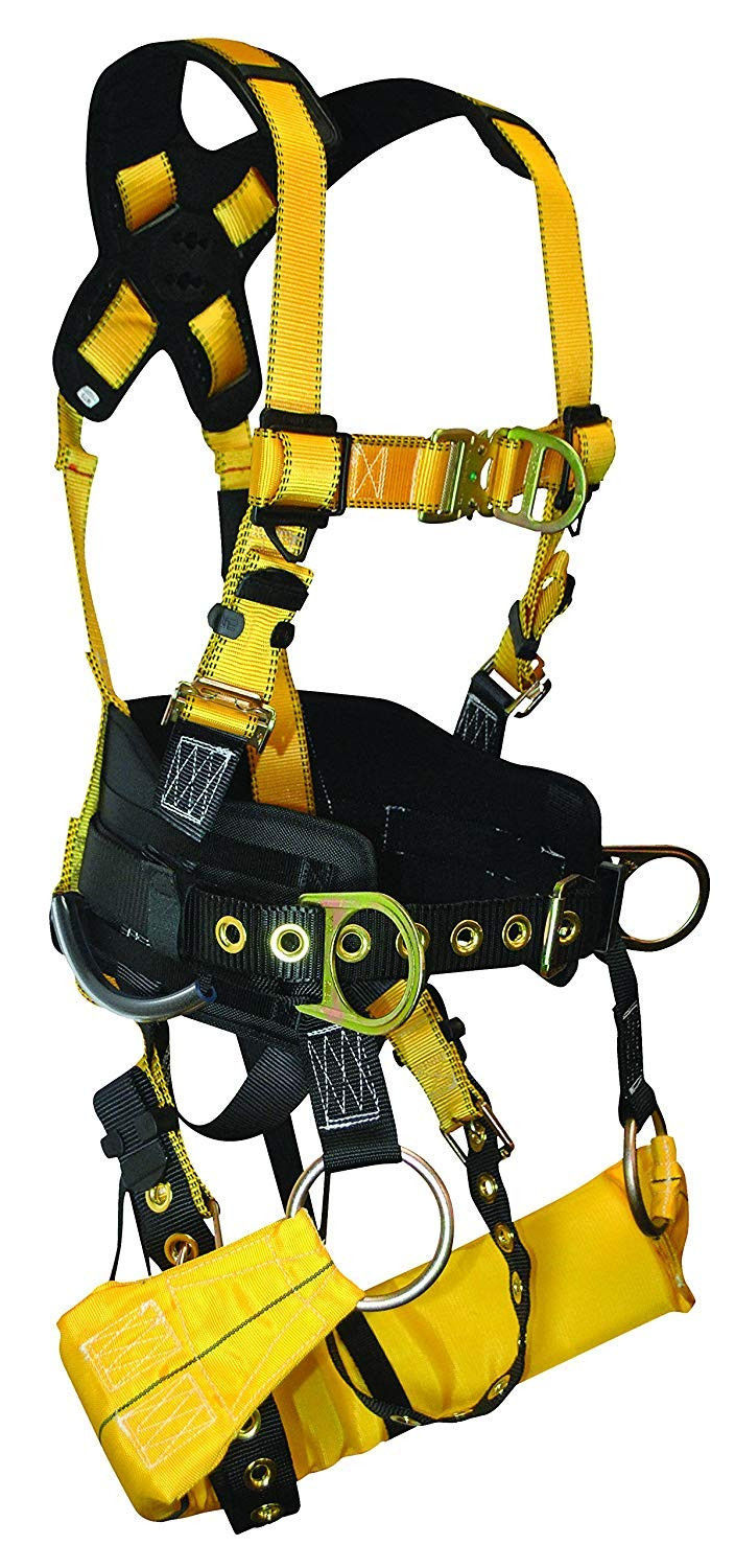 FallTech 7042L TowerClimber Full Body Harness with 6 D-Rings, TB Legs/QC Chest, 6-Inch Waist Pad and Padded Work Seat Sling, Yellow/Black, Large