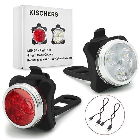 Luces Bicicleta LED, Luces Bici Delantera y Trasera Recargable por ...