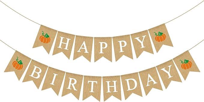 Amazon.com: Rainlemon - Guirnalda de yute con calabaza rústica para decoración de fiestas de cumpleaños