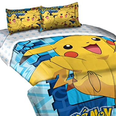 Pokemon,  Big Pika  Twin/Full Comforter with 2 Pillow Shams, 72  x 86