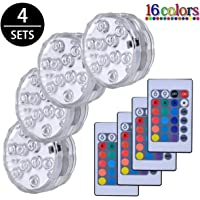 Luces Sumergibles,4PCS Piscina Luz LED Impermeable,Control Remoto Bajo