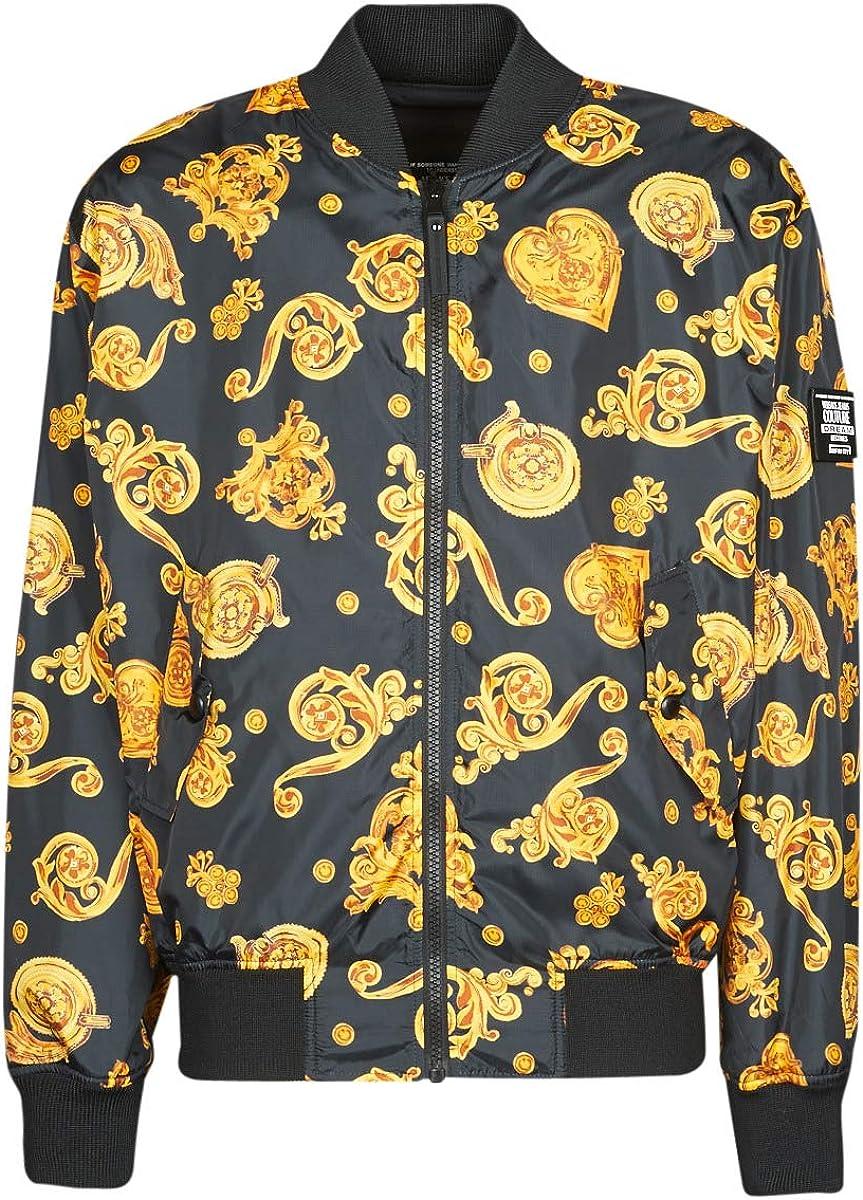 Versace Jeans Couture chaqueta hombre negro con impresión oro C1GVB9B7-VUM407 Rev. Print joyas Tess:25115 899 Ripstop DL Print Jewels