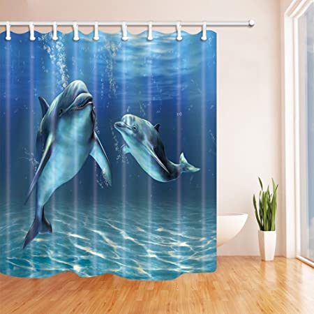 SZDR Dolphins Shower Curtain69X70 Inches Mildew Resistant Polyester Fabric Creative Design Curtain Hooks