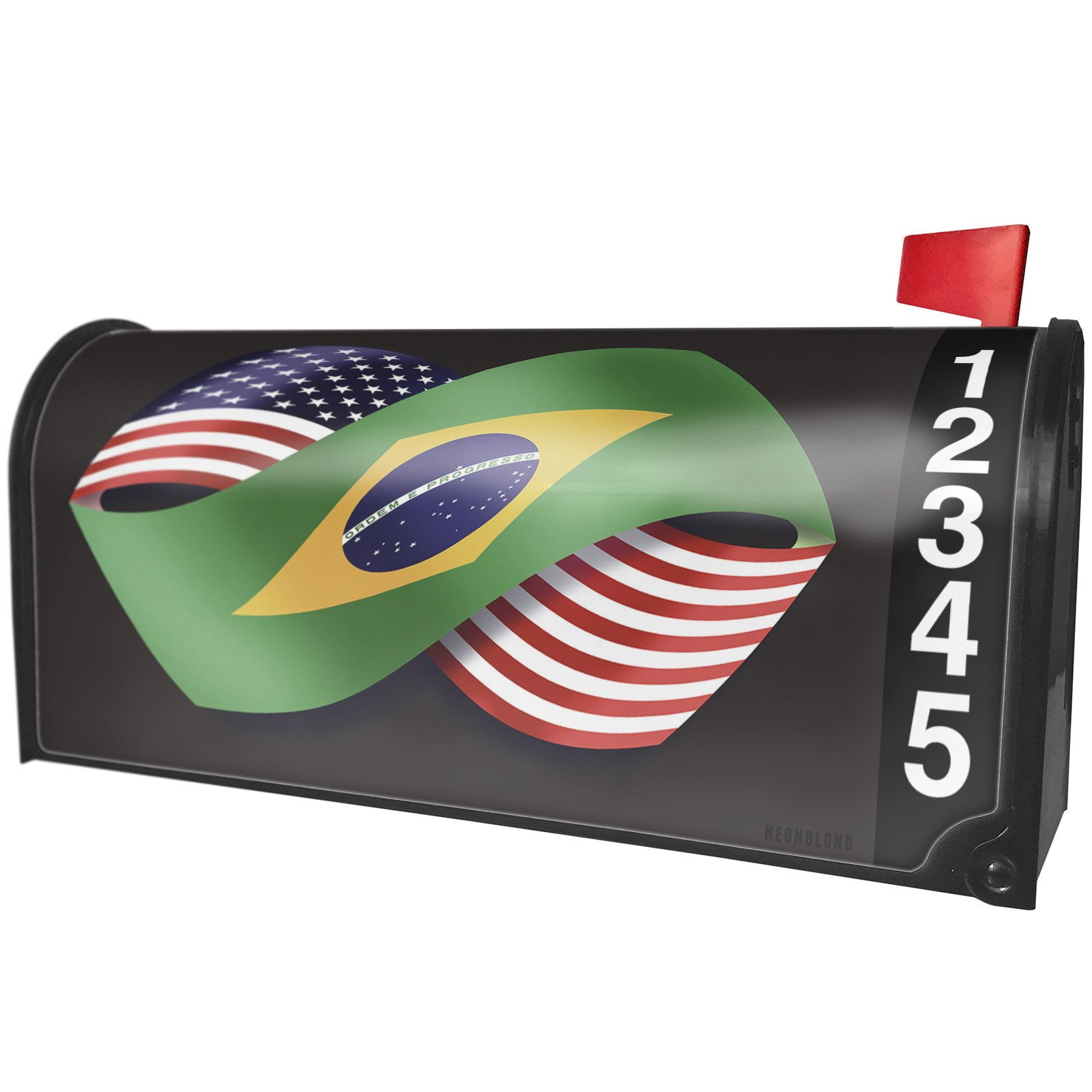 NEONBLOND Friendship Flags USA and Brazil Magnetic Mailbox Cover Custom Numbers