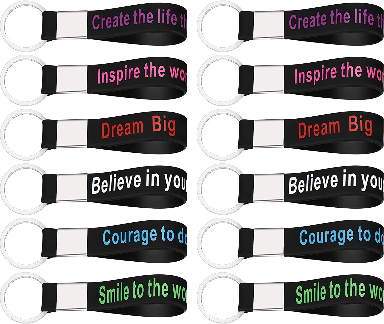 24 Pack Motivational Quote Keychains Silicone Rubber Key Rings with Inspirational Words for Men Women