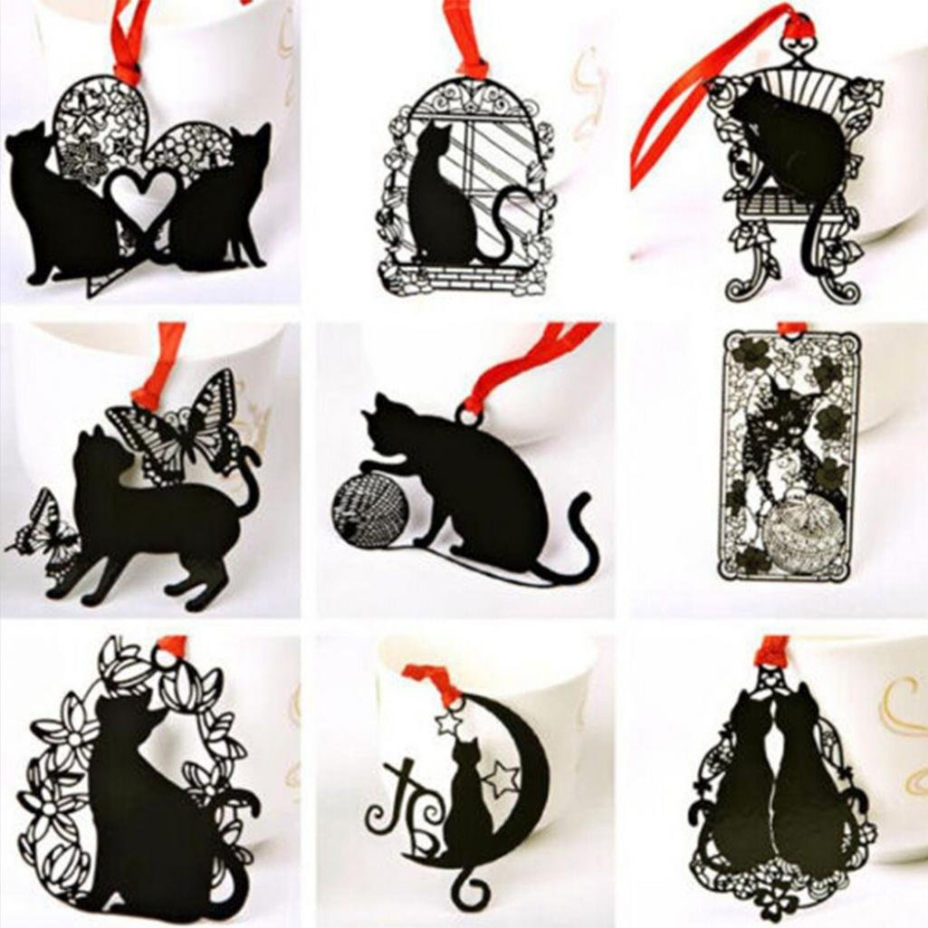 Marcapáginas de metal hueco para gatos, 2 unidades, color negro, para regalar a estudiantes, estilo aleatorio Geshiglobal