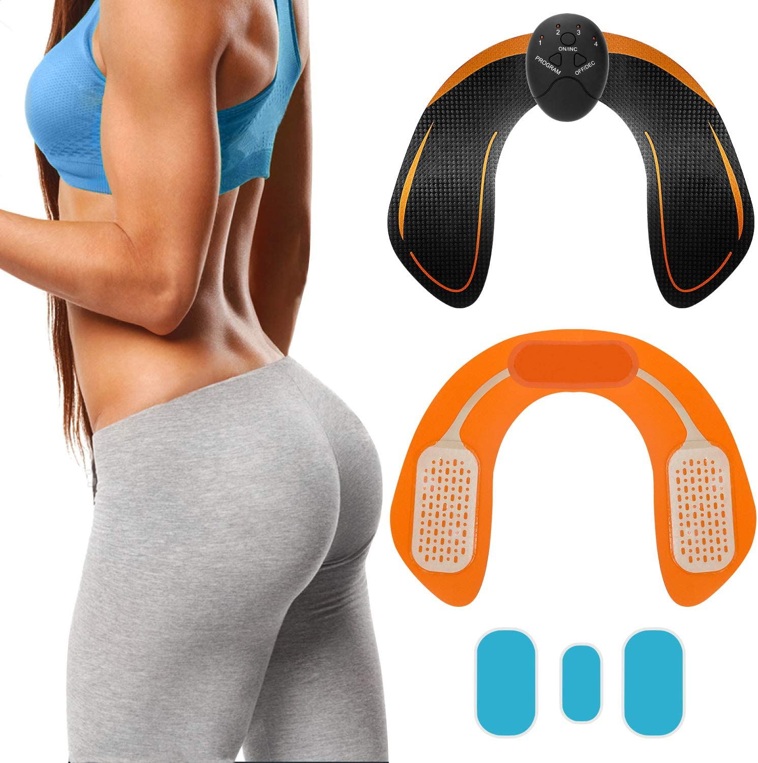 SPORTLIMIT Butt Hip Trainer,Upgrade Butt Muscle Toner, EMS Hip Muscle Trainer,Fitness Training Equipment Home Office Trainer Workout Equipment Machine Fitness for Women Men with Replacement Gel Pads