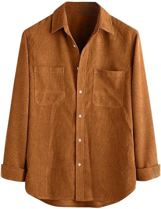 camisas de pana para hombre,ZODOF Invierno Manga larga Pana Collar de cobertura con Botón y Bolsillo Color sólido Casual Tops Mantener caliente Camisas chaquetas de pana para hombres: Amazon.es: Amazon.es
