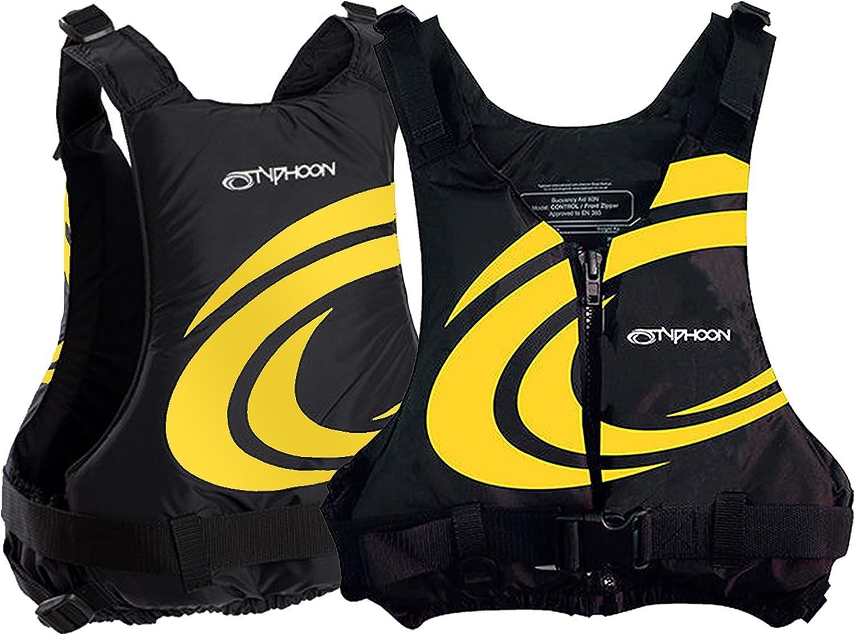 Typhoon Yalu Wave Front Zipper 50N Buoyancy Aid BS EN393:1994 approved Canoe Kayak Dinghy SUP Jacket Black//Yellow, Junior