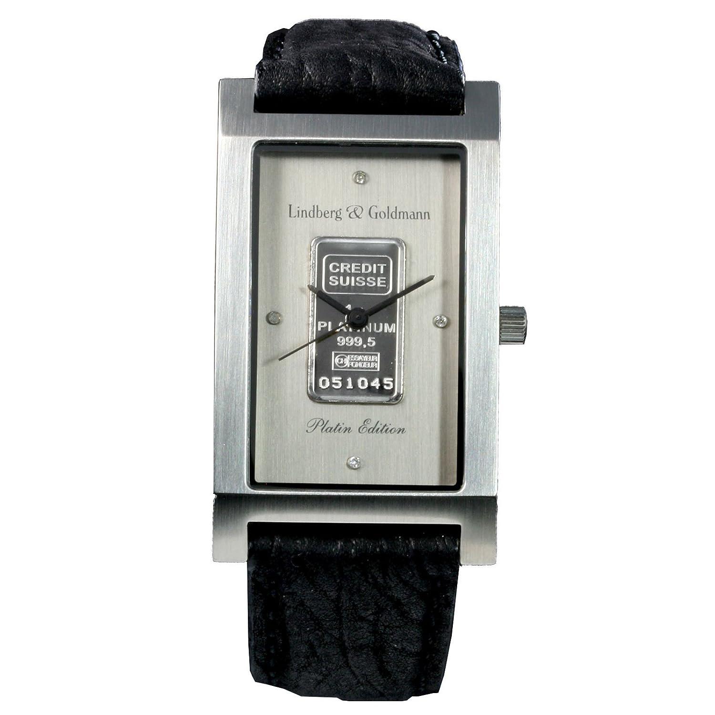 Herrenarmbanduhr - Armbanduhr - Herrenuhr Lindberg & Goldmann -Platin bar- mit massivem Platinbarren der Credit